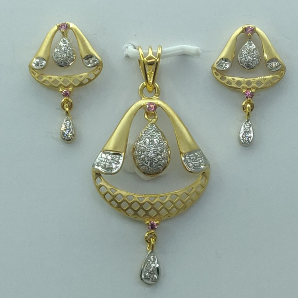 916 Gold CZ Indian Design Pendant Set SSJ-PS004