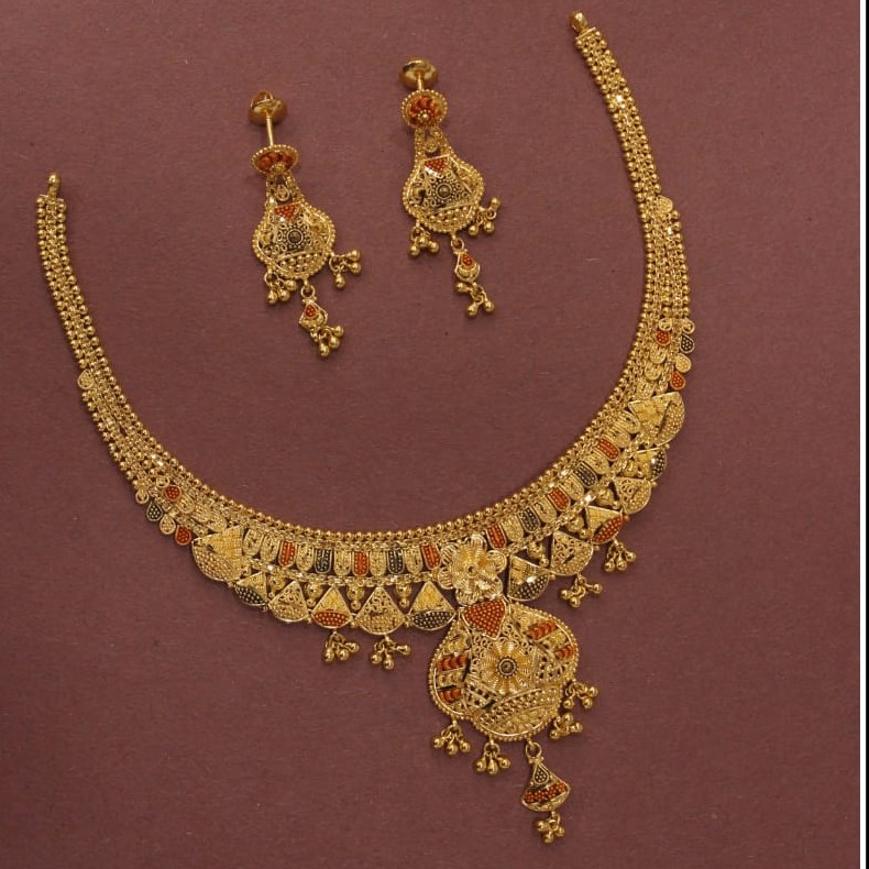 22KT/916 Yellow Gold Spectacular Necklace Set For Women