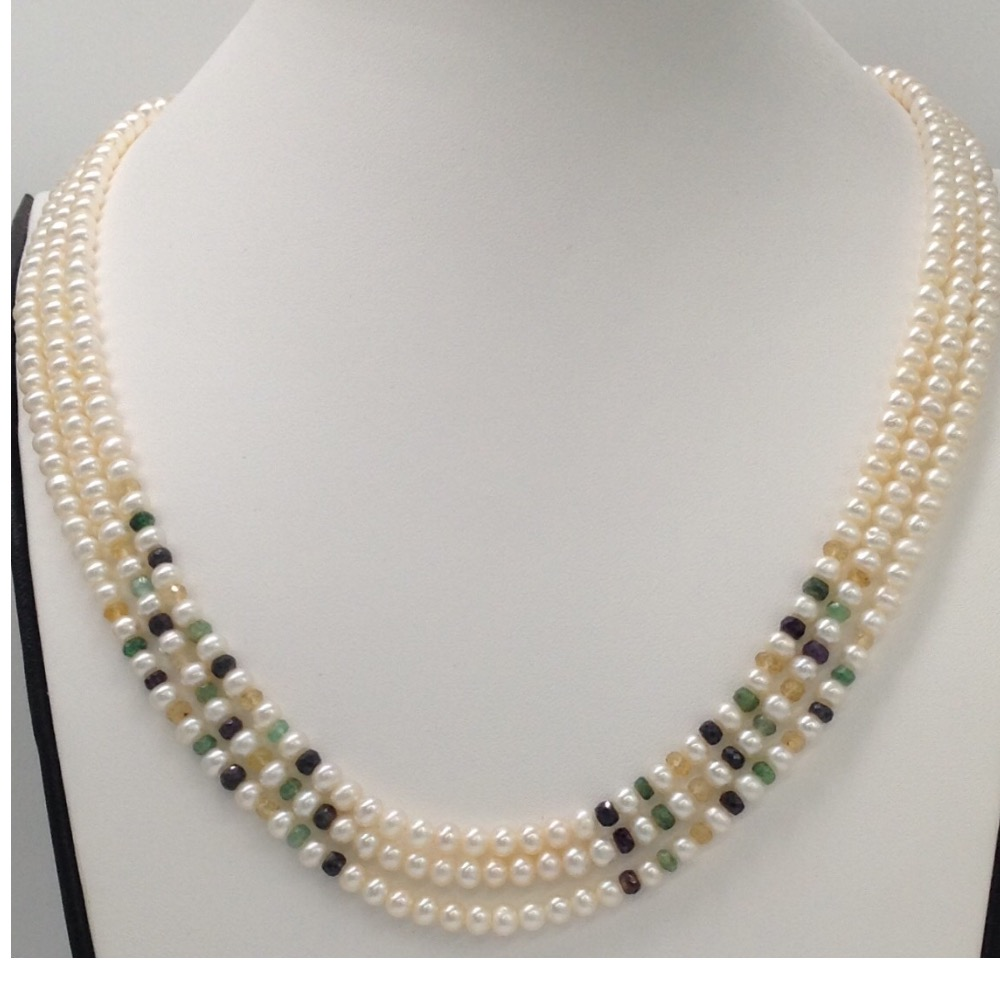 Freshwater white flat pearls 3 layers necklace with faceted sapphire round beeds