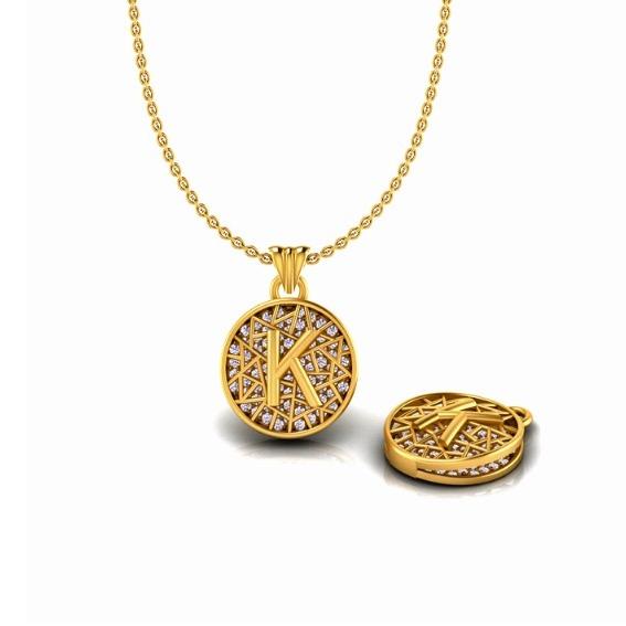 22KT Gold K Alphabet Pendant Chain SO-P002
