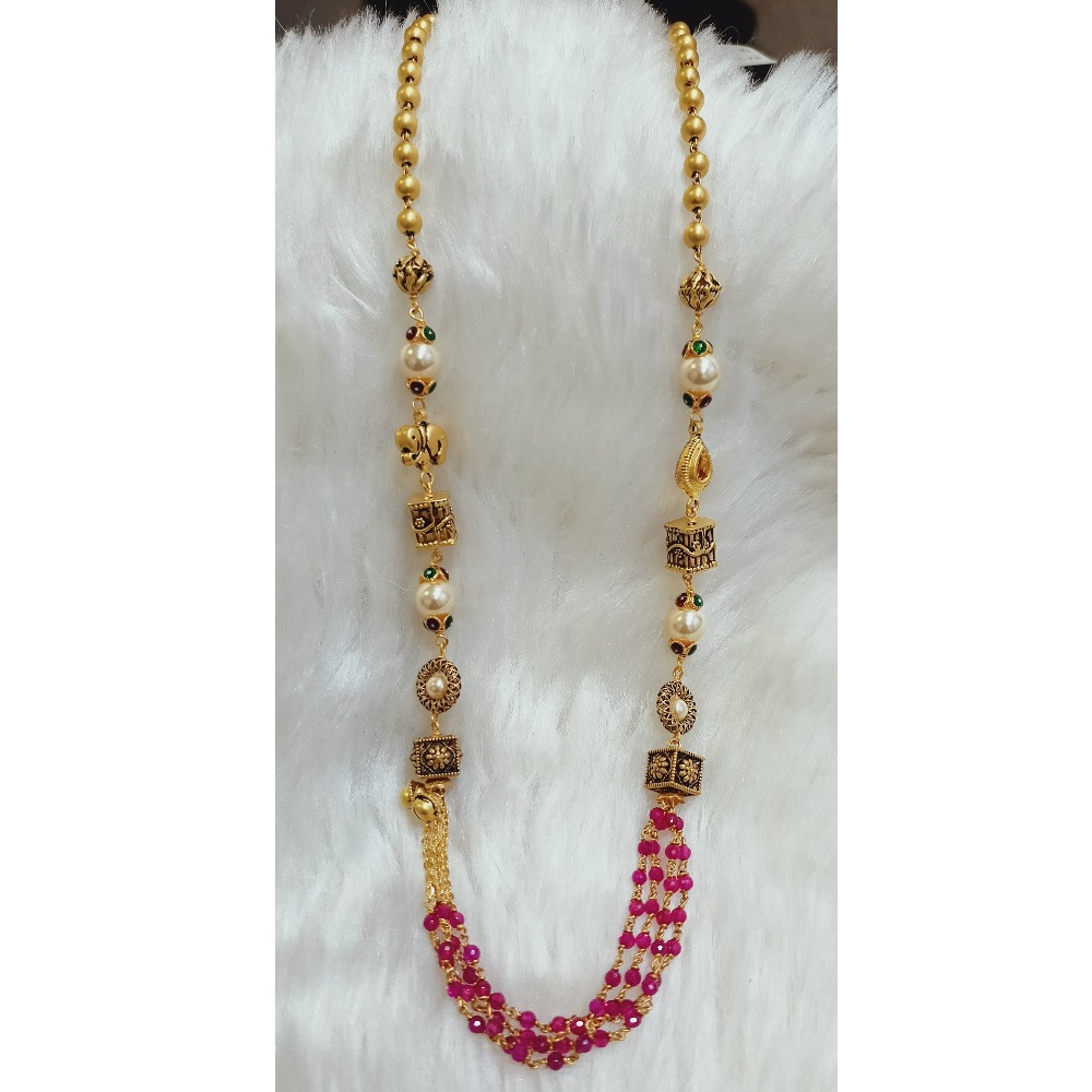 22 KT RED MOTI ANTIQUE MALA