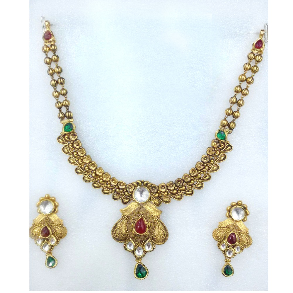 916 Yellow Gold Bridal Necklace Set-011