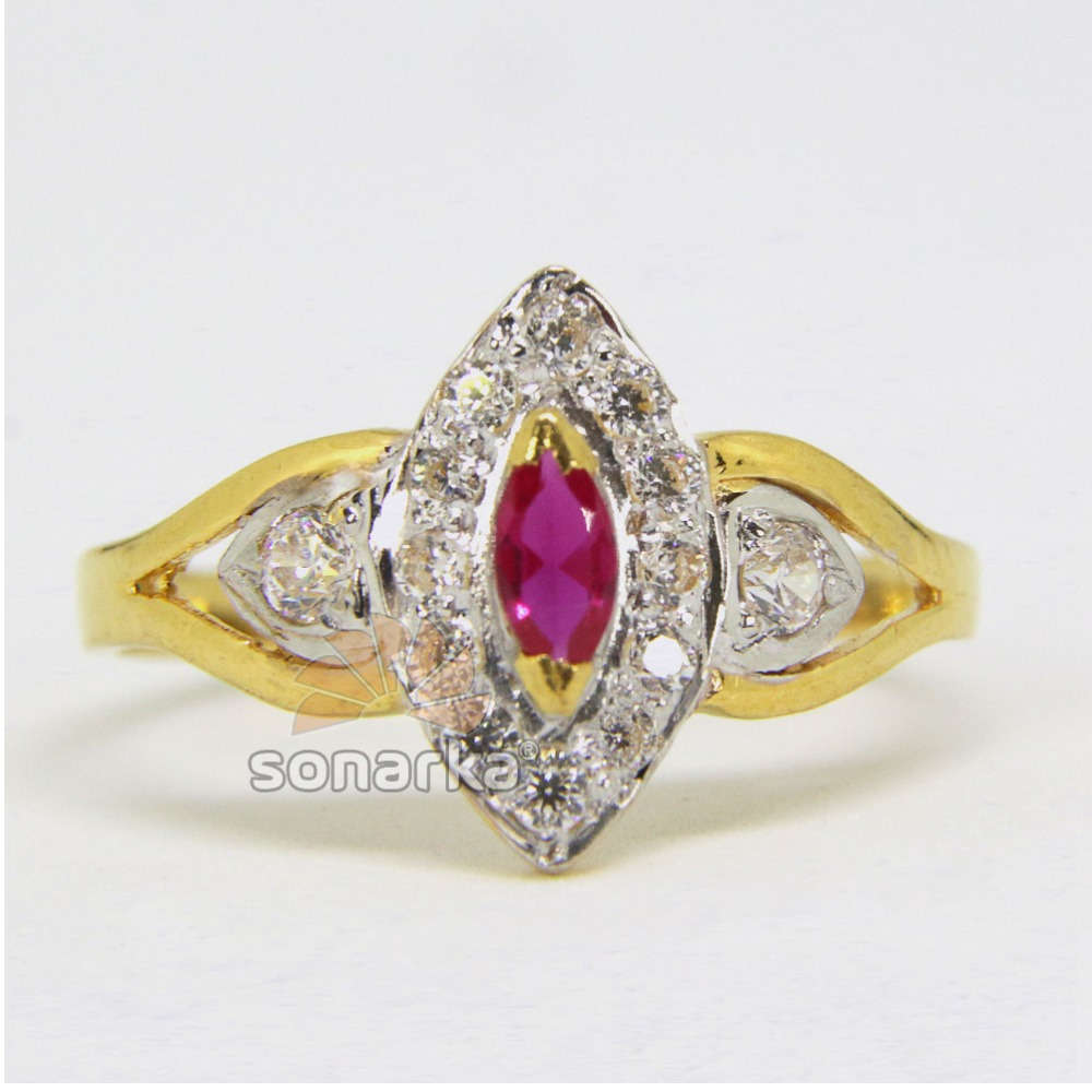 22ct Hallmarked Gold Ladies Ring Rodihum Studded CZ stones