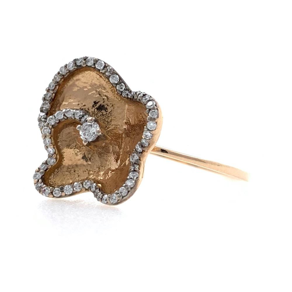 18kt / 750 Rose Gold Butterfly Diamond Ladies Ring 9LR186