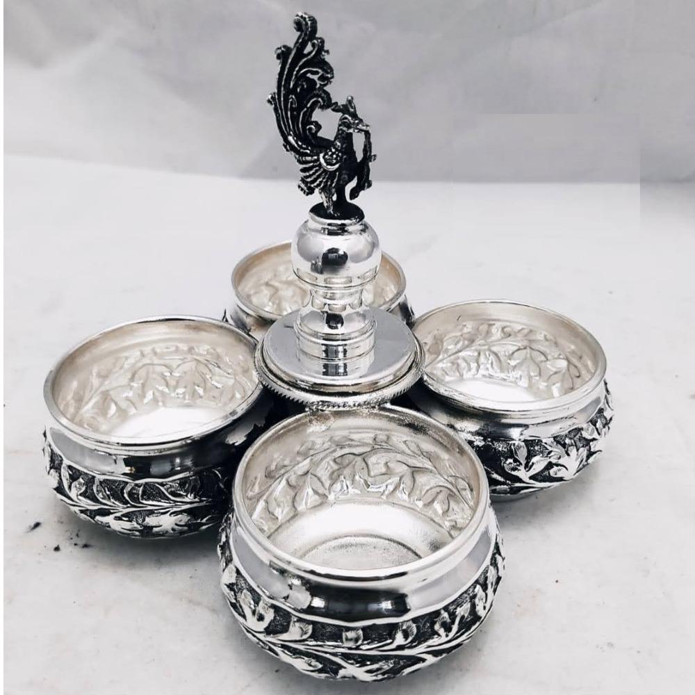 Puran pure silver mayur kankavati in Chatayi Work (4 cup set)
