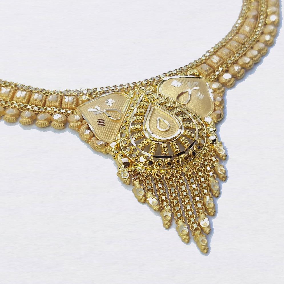 916 Plain Gold Bridal Necklace Set SK-N014