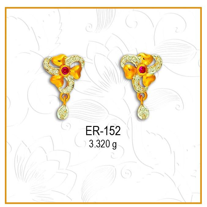 916 CZ Gold Flower Shape Earring ER-152