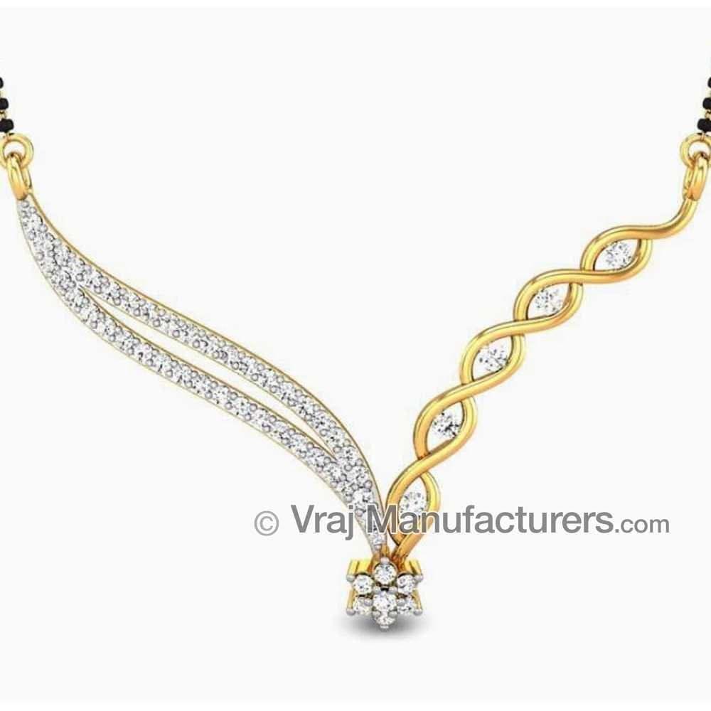 18KT Floral Diamond Gold Mangalsutra Pendant