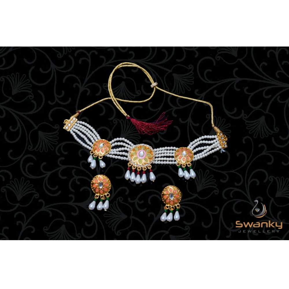 Attractive white pearl moti set with glass beads & chatons