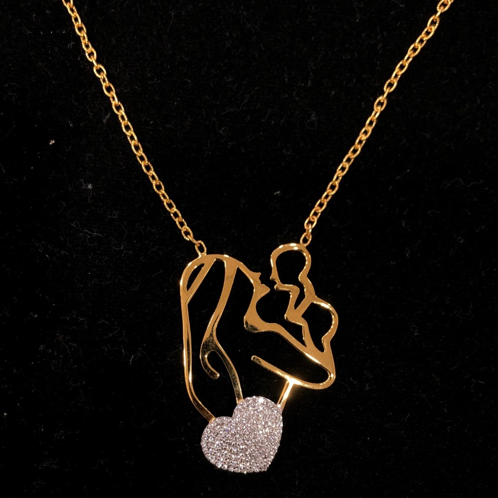 Gold heart shape pendant chain