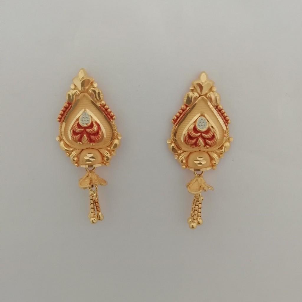 916 gold kalkati design work earrings