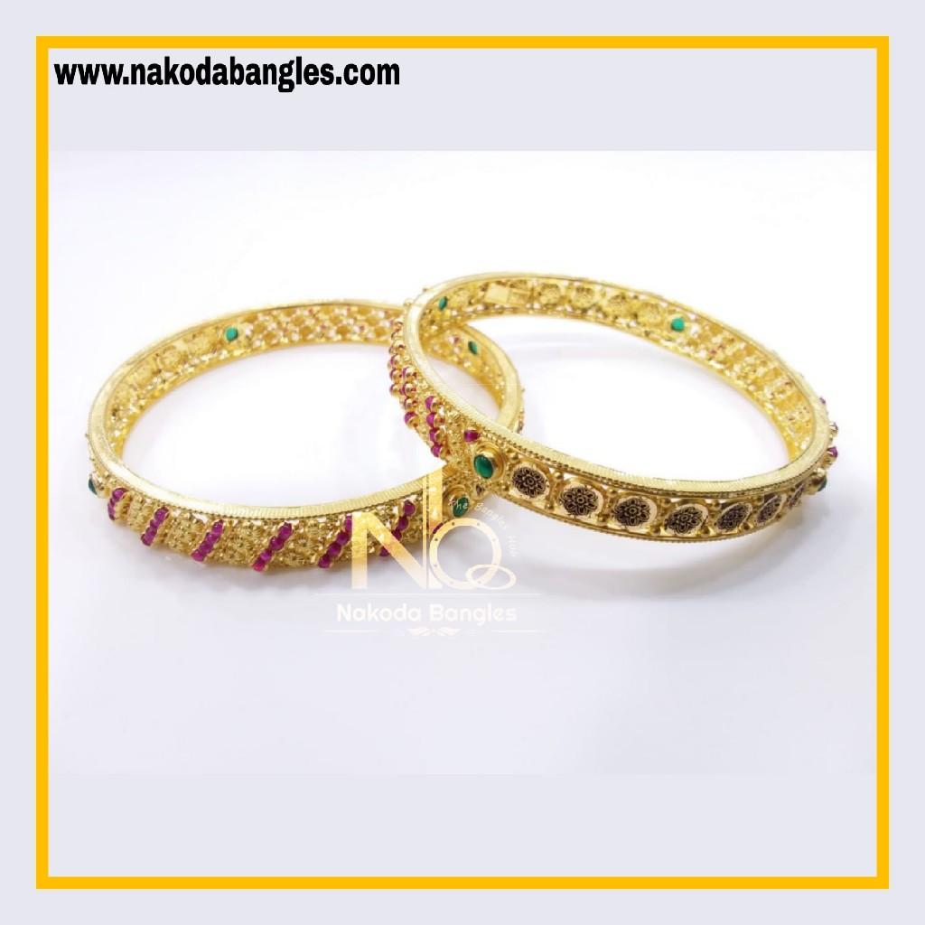 916 Gold Chakri Bangles NB - 855