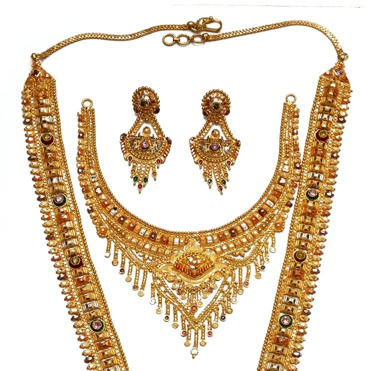 22k Gold Long Rajwadi With Half Necklace Set GLS015