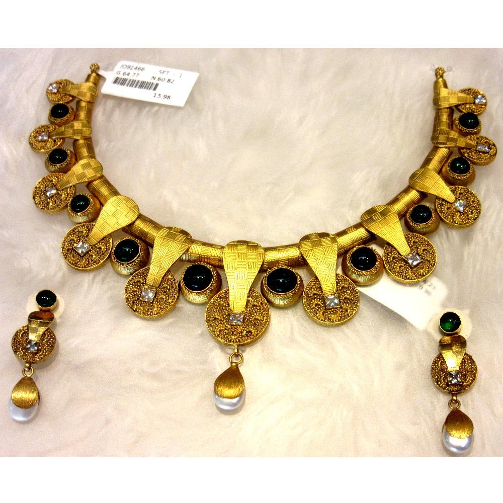 Gold 22k hm916 colorful western designer necklace set