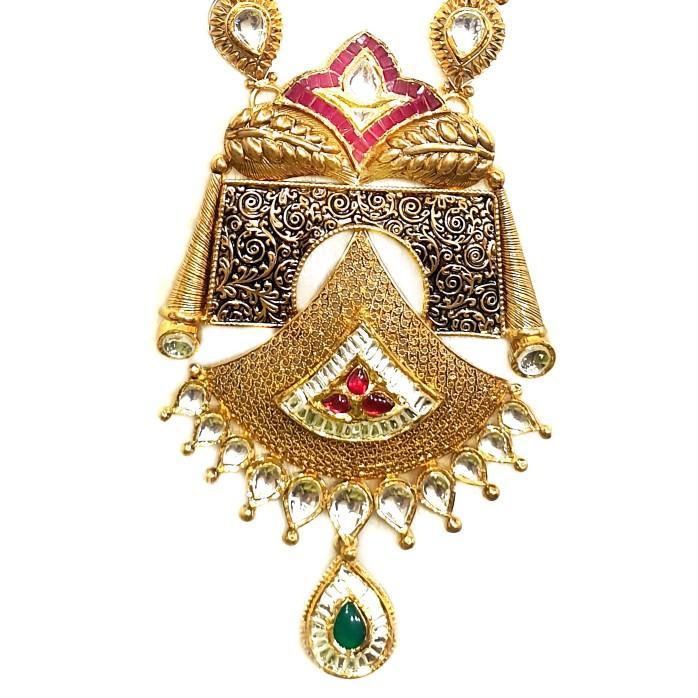 22k Gold Antique Rajwadi Necklace With Jummar Buti MGA - GLS086