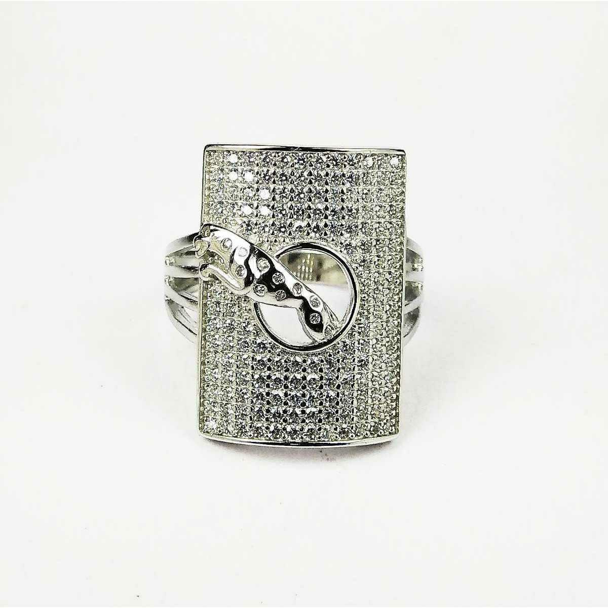 Fancy 925 silver Jaguar gents ring