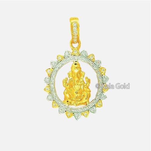916 Gold Religious CZ Ganesh Design Pendant