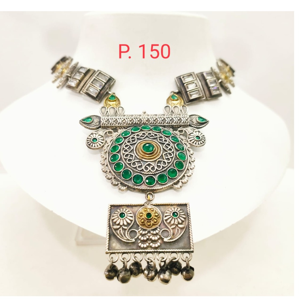 Traditional oxidised silver emerald stone Choker Necklace set 1670
