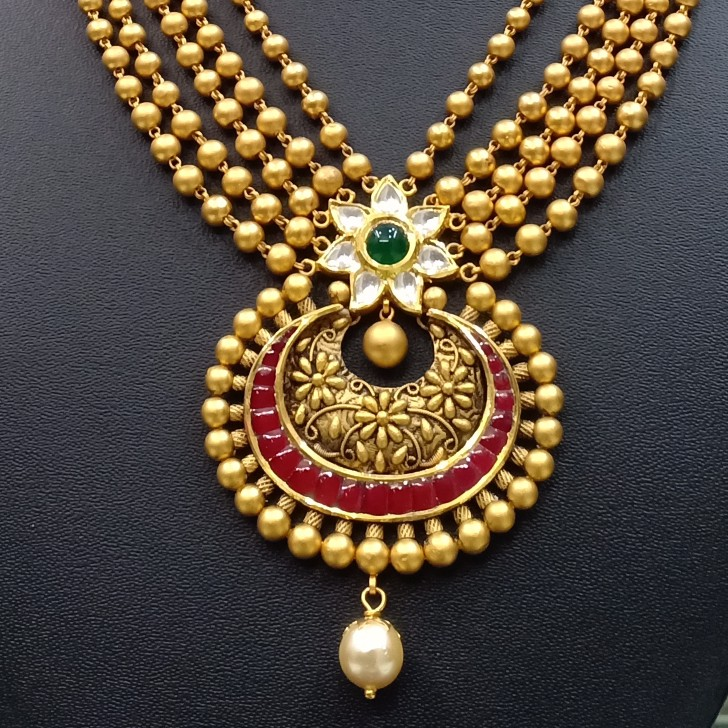 22k antique gold necklace set