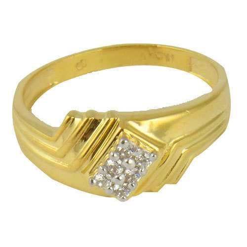916 Fancy Gold Diamond Gents Ring