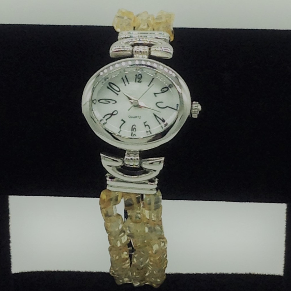 Natural citrine chips beeds 3 layers watch jbg0239