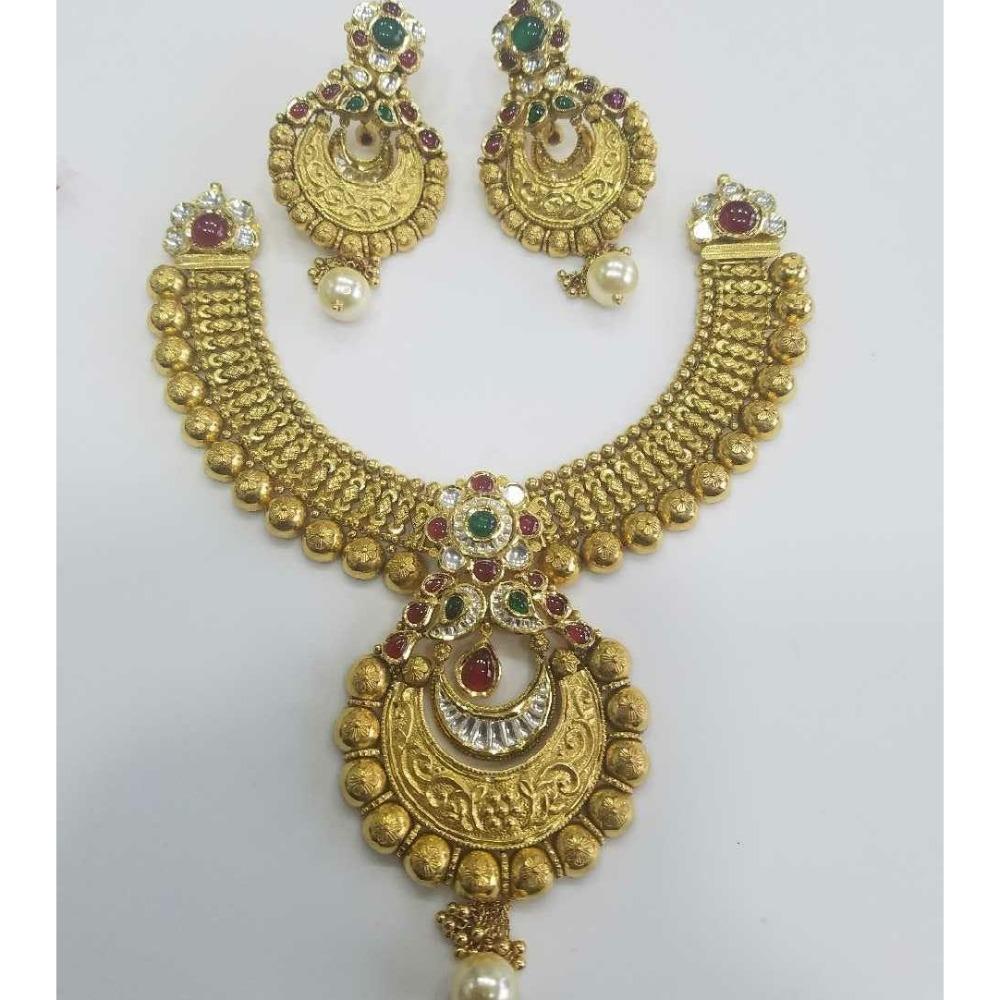 916 Gold Ladies Jadtar Antique Bridal Necklace Set
