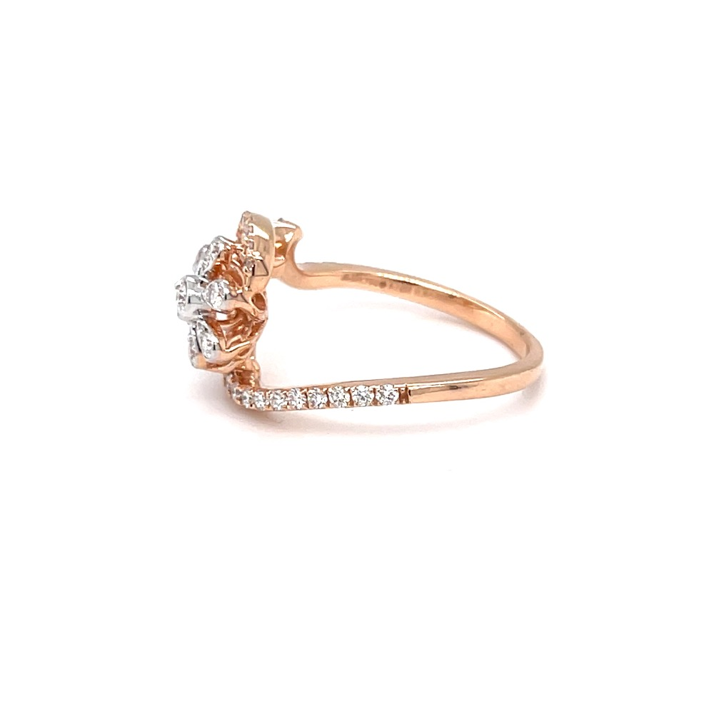Designer floral diamond ring in pave setting and microsetting