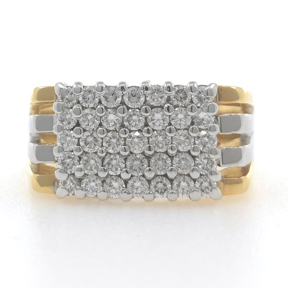 18kt / 750 yellow gold stronghold handmade diamond gents ring 9gr15