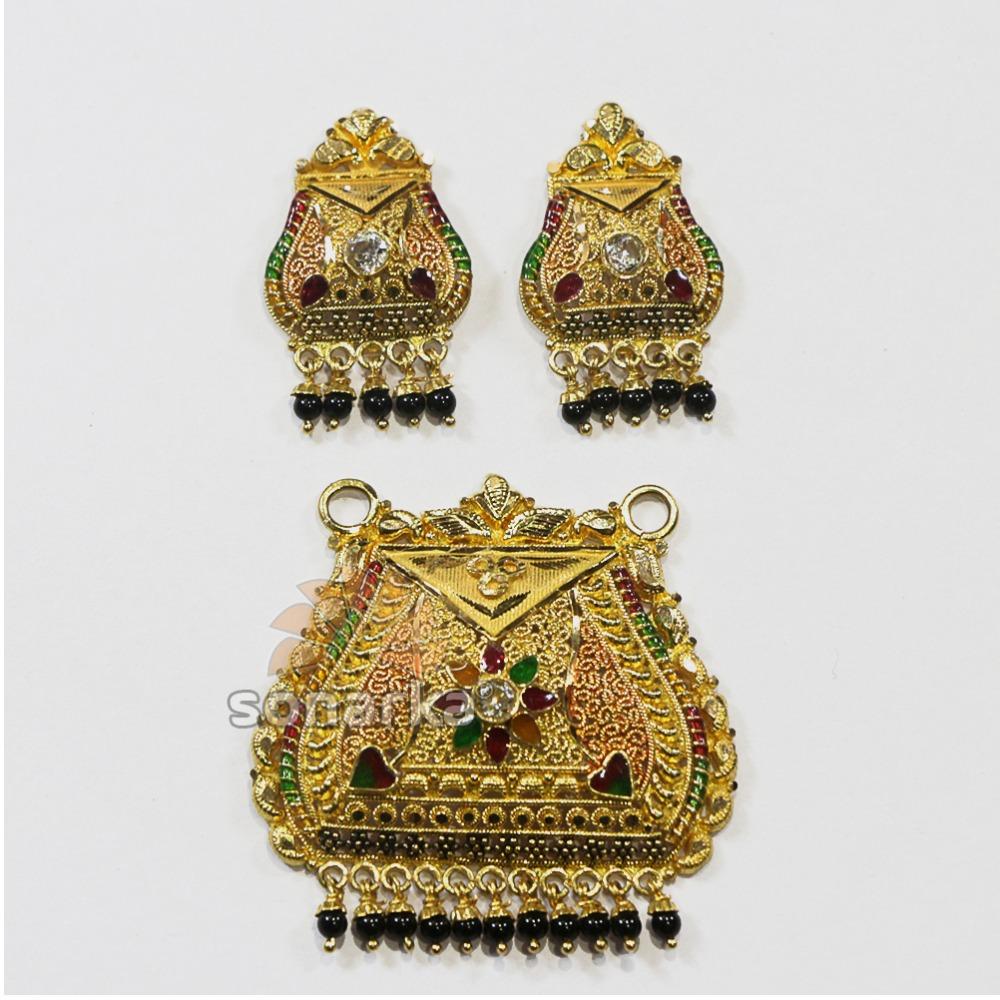 916 Gold Meenakari Culcatti Pendant Set with black pearl