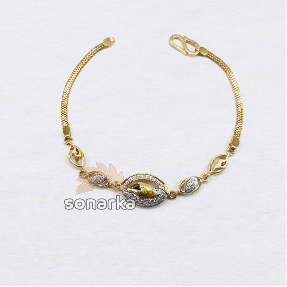 916 Modern Plain Gold Ladies Bracelet