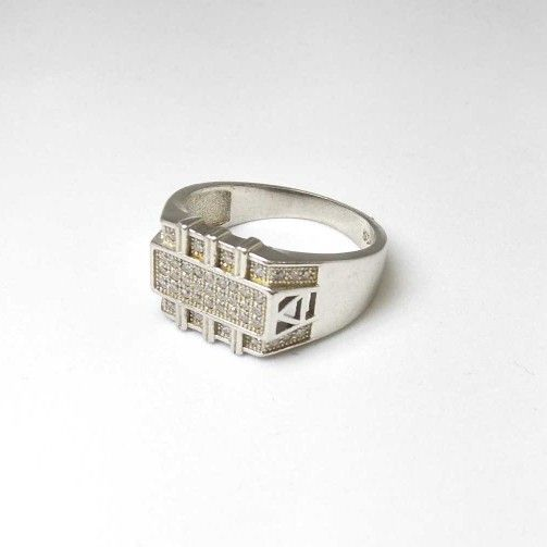 925 Sterling Silver AD Diamond. Gents Ring