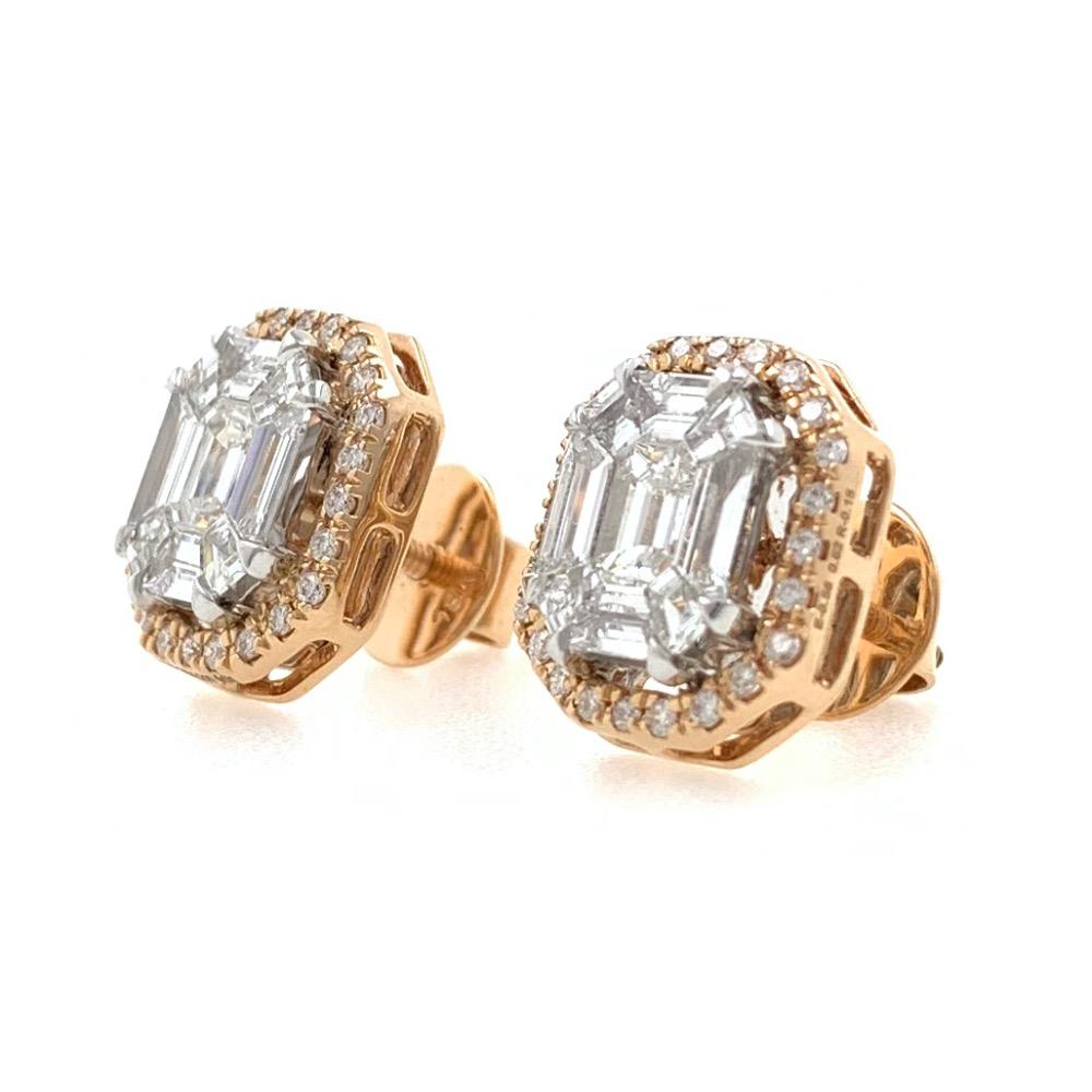 Bonita diamond emerald cut studs 9top136