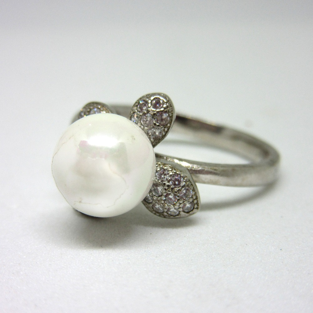 Silver 925 white pearl ring sr925-171