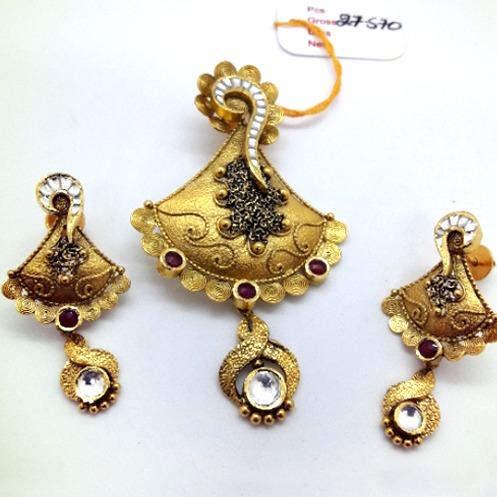 916 gold antique Indian design pendant set cmj-ps002
