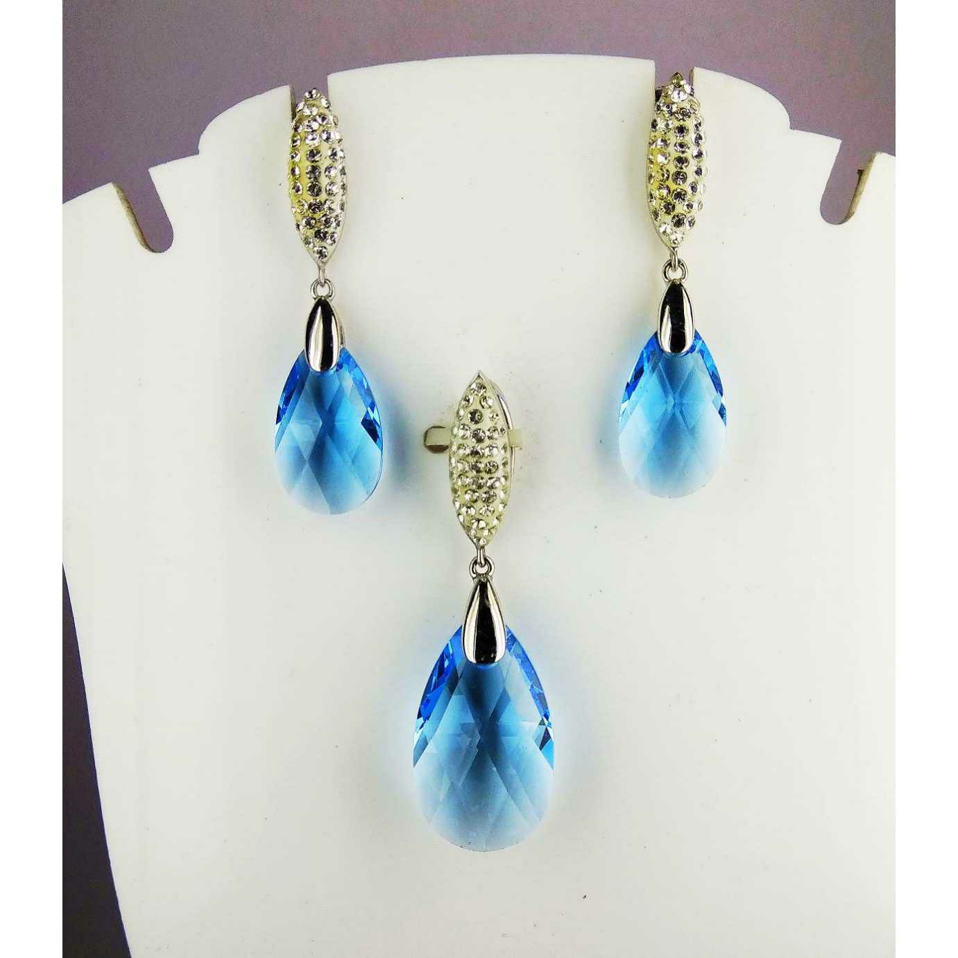 Blue Stoned 925 Silver Pendant Set