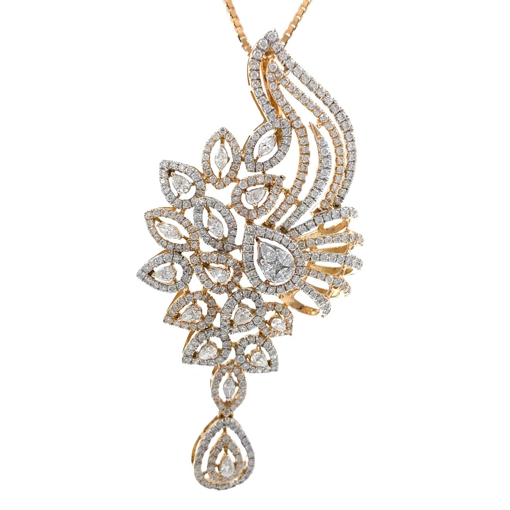 Suspendisse diamond pendant with drop in 18k rose gold 9shp26