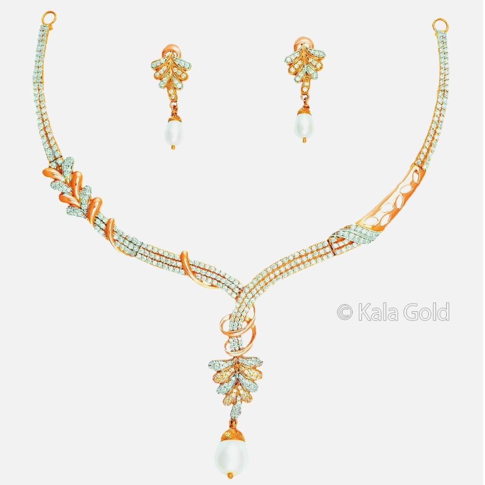 22KT CZ Gold Delicate Diamond Necklace Set