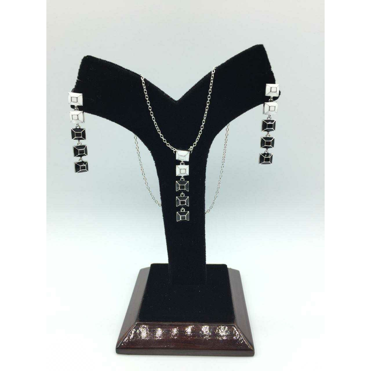 92.5 Sterling Silver First Class Rodyam Finish Chain Pendant Set Ms-3101