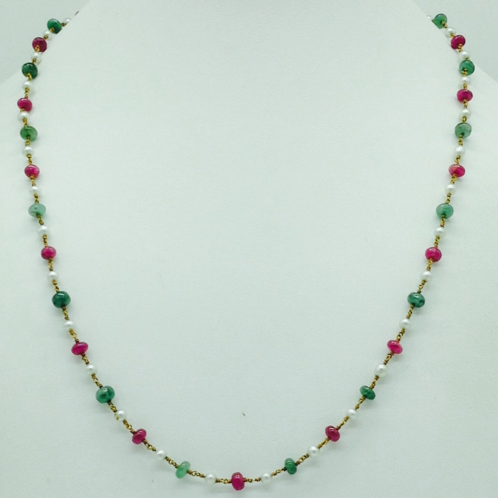 White round pearls with ruby and emeralds gold taar mala jgt0013