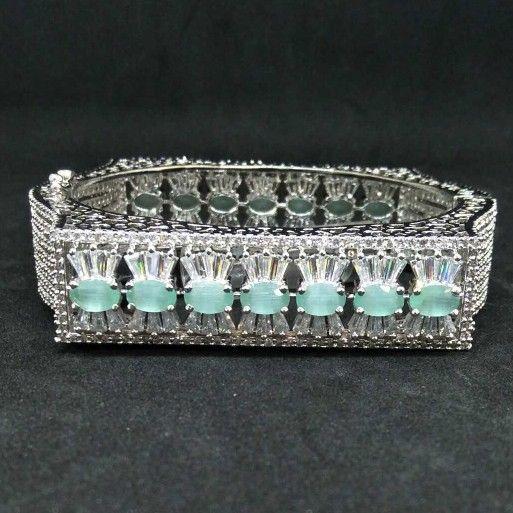 Green diamond designed 1 gram ladies bracelet