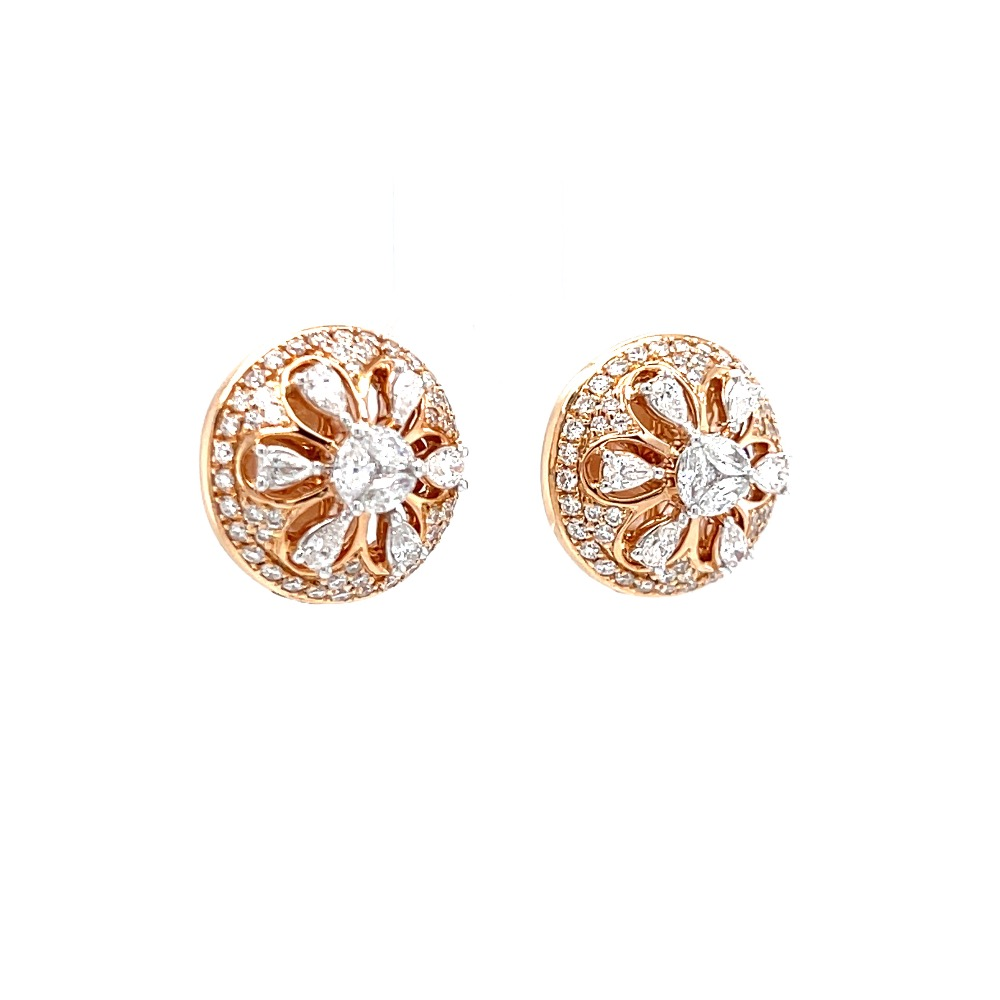 Traditional buty with fancy pear marquise diamonds in rose gold