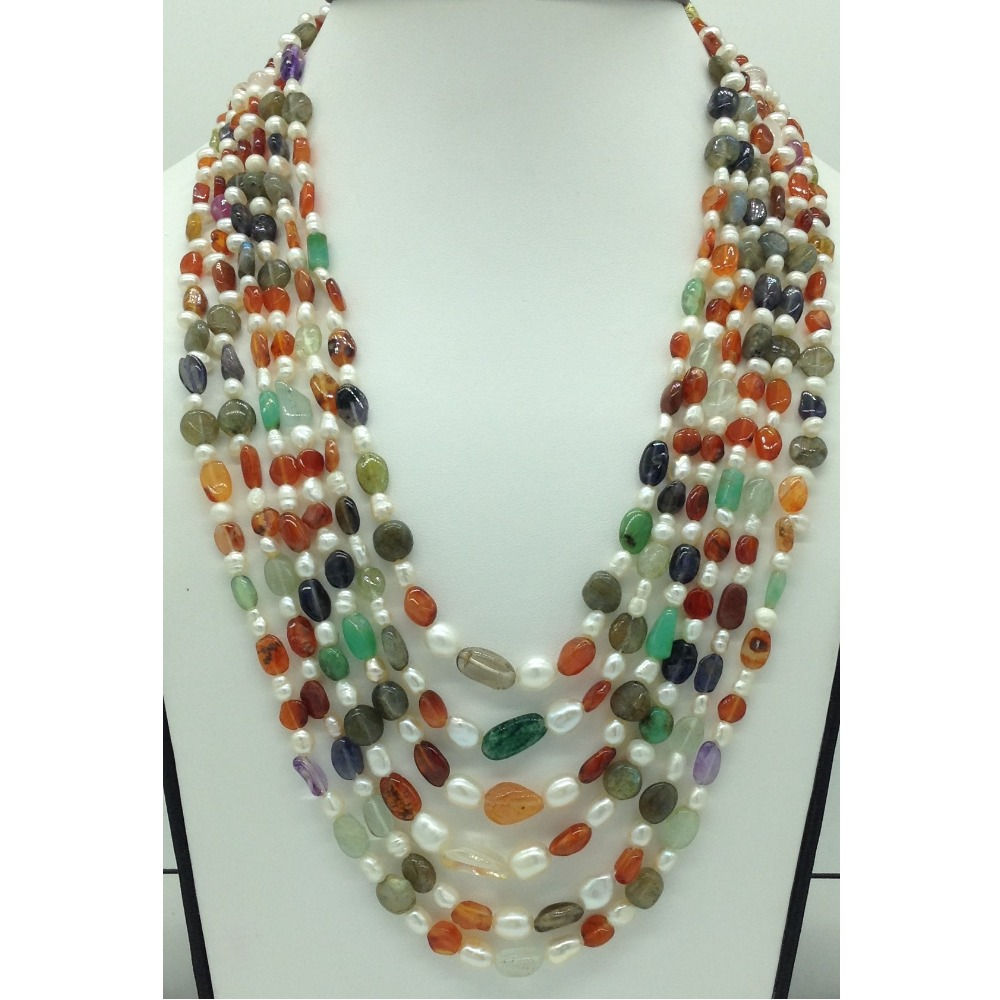 White OvalPearls with Oval Semi Beeds6Layers Necklace JPM0393
