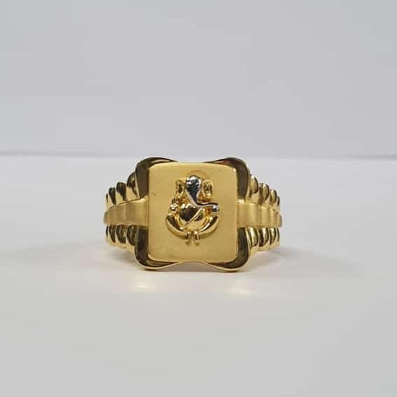 22kt Gold Square Dull Polish Rodiyam Ganpati Ring for Men