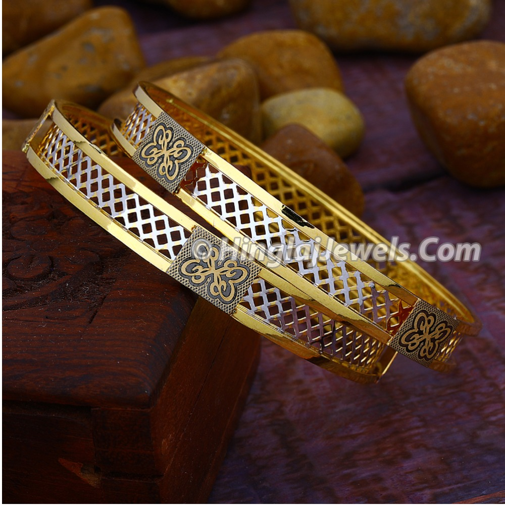 916 Gold Fancy Double Pipe Copper Bangle HJ-5817
