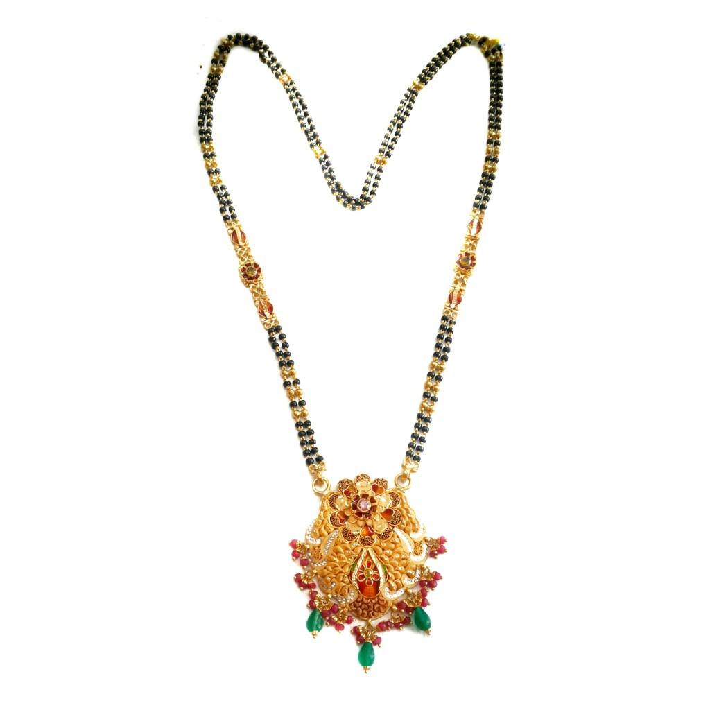 22k Gold Meenakari flower shape mangalsutra MGA - GM009