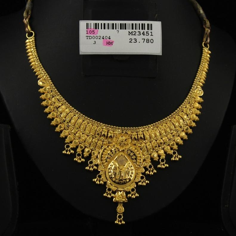 22Kt Gold Hallmark Ghughari Necklace Set
