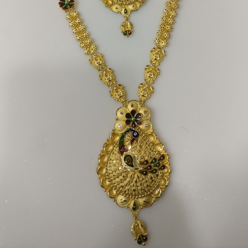 22kt gold south Indian handmade Haram and necklace set