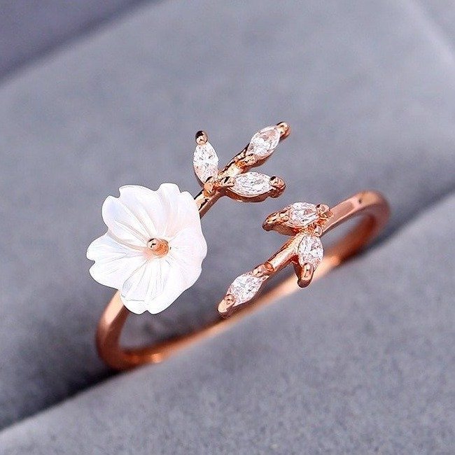 fancy diamond ring with pearl