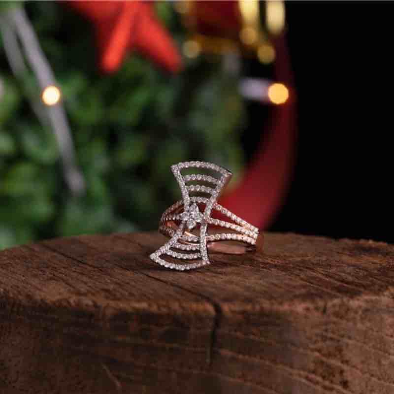 18kt Designer Diamond Rose Gold Ring