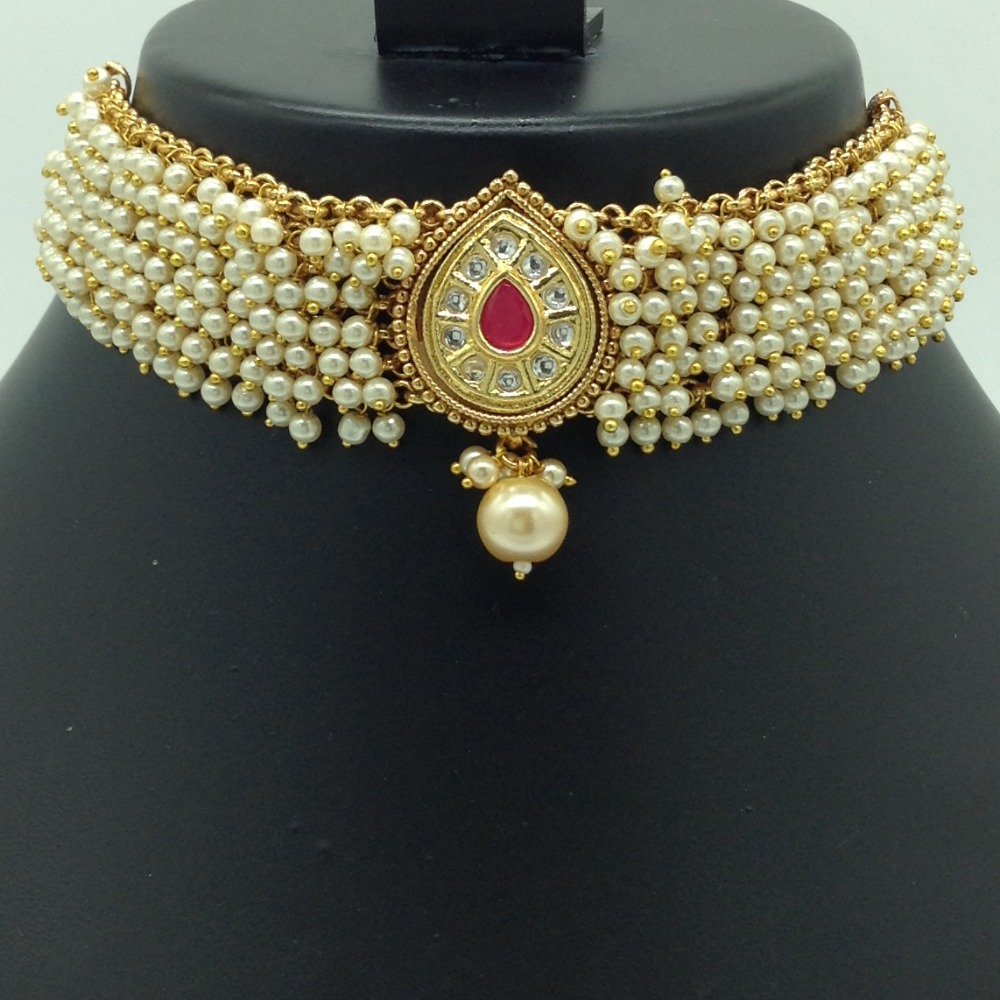 White, Red Kundan and Pearls Jali Choker Set JNC0124